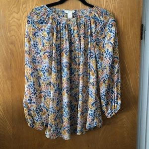 Sundance 3/4 sleeve floral sheer peasant blouse L